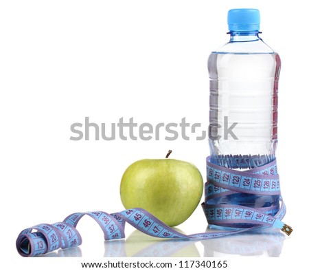 Bottle of water, apple and measuring tape isolated on white - stock photo