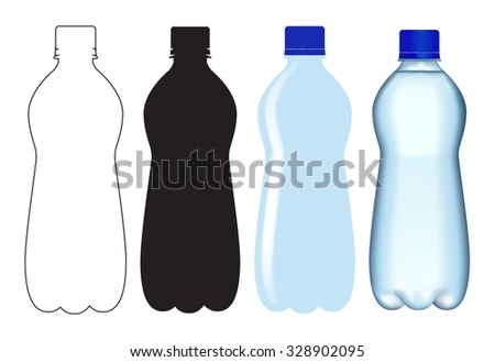 Bottle of water. Illustration isolated on white background. Raster version.