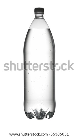 Bottle of water isolated on white. With path. - stock photo