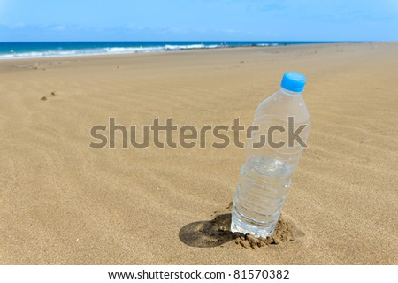 Bottle of water on the beach