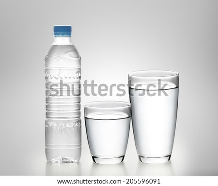 Bottle of water with glass on white background  - stock photo