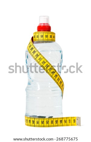 Bottle of water with measuring tape. Dieting concept. Isolated on white. - stock photo