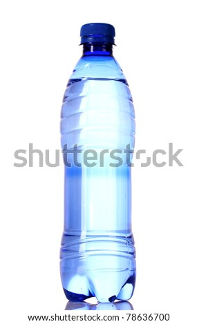 Bottle of water with water drops on blue background - stock photo