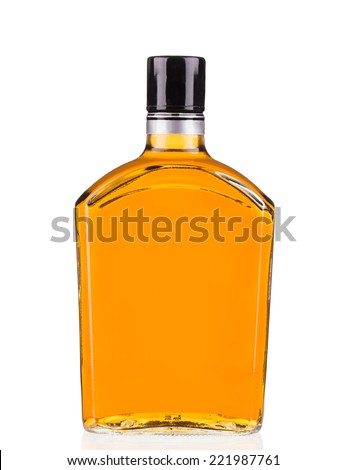 Bottle of whiskey isolated on a white background - stock photo