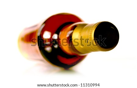 Bottle of whisky on white background - stock photo