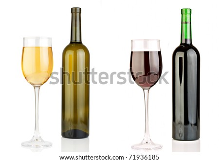 Bottle of white and a bottle of red wine. A glass of white wine and a glass of red wine. - stock photo