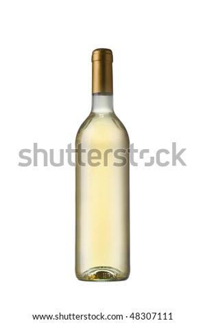 bottle of white wine - stock photo