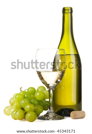 Bottle of white wine and grapes, isolated on white background - stock photo