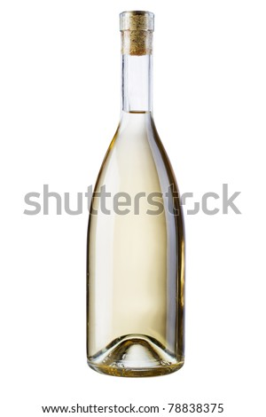 Bottle of white wine isolated on white background - stock photo
