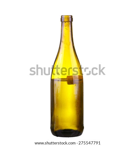 bottle of white wine on isolated reflective white background