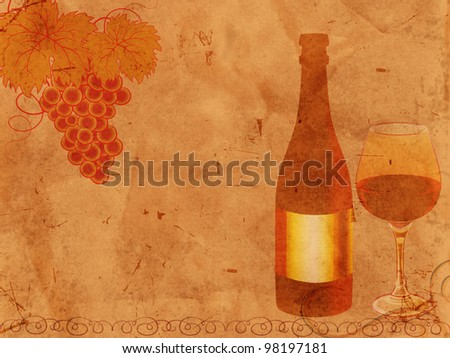 bottle of wine and glass and grape over old paper - stock photo