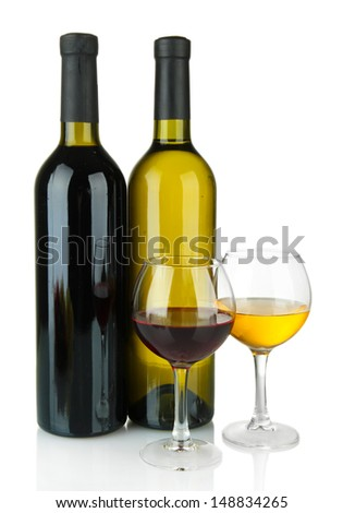 bottle of wine and glasses isolated on white - stock photo