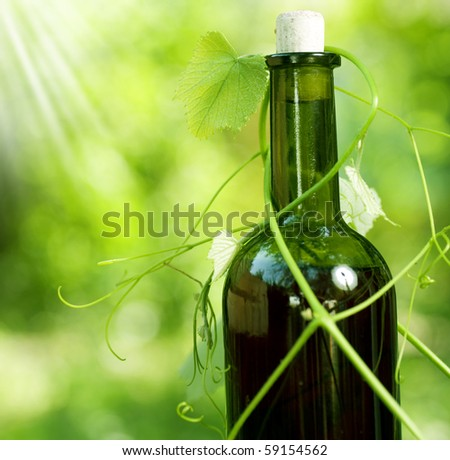 Bottle of Wine and grape leaves - stock photo
