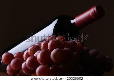 Bottle of wine and grapes - stock photo