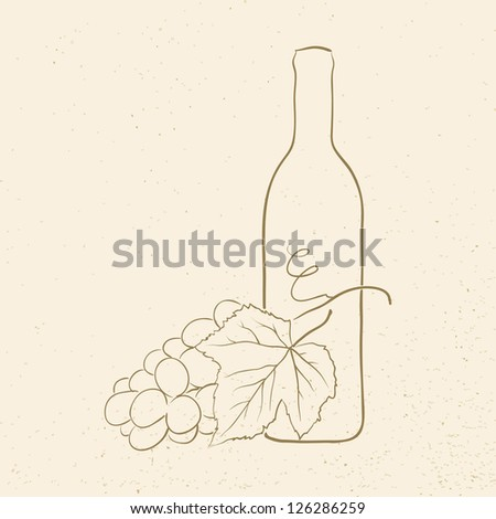 bottle of wine and grapes, raster illustration - stock photo