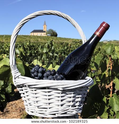 bottle of wine in basket in France - stock photo