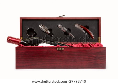 bottle of wine in box with accessories