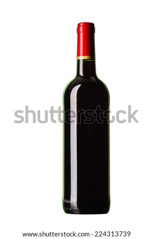 Bottle of wine. Isolated on white background - stock photo