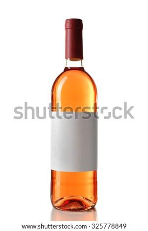 bottle of wine isolated on white background - stock photo