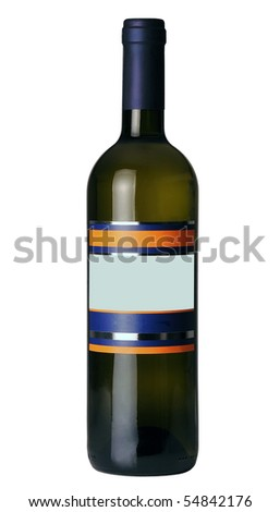 Bottle of wine isolated on 100% white background - stock photo
