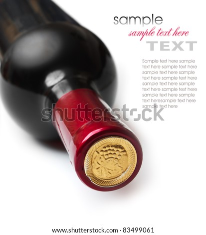 bottle of wine isolated on white background - stock photo