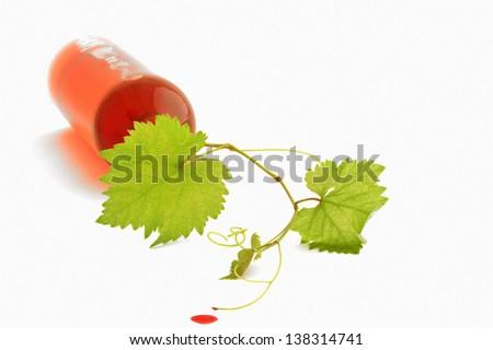bottle of wine on white background - stock photo