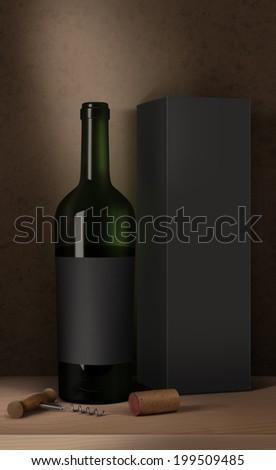 Bottle of wine, wine packaging box, wine cork and corkscrew - stock photo