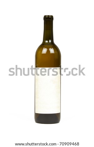 Bottle of Wine with Blank Label Isolated on a White Background