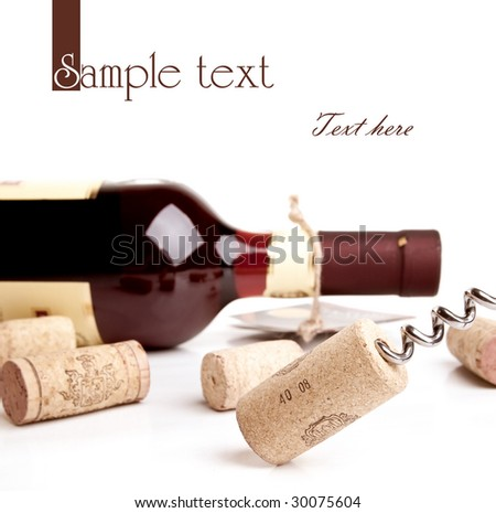 Bottle of wine with corkscrew isolated on white - stock photo