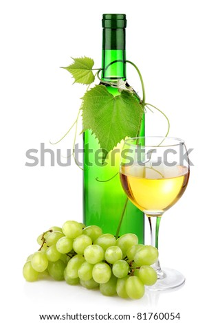 Bottle of wine with glass and grape branch isolated on white background