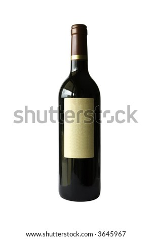 Bottle of Wine with label - stock photo
