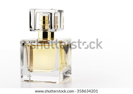 Bottle of woman perfume on white background.