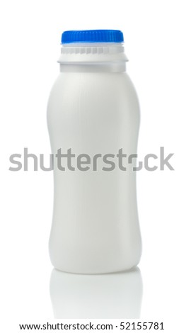 bottle of yogurt isolated