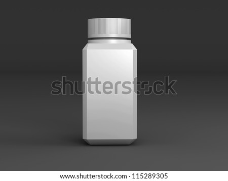Bottle on a black background standing upright one - stock photo