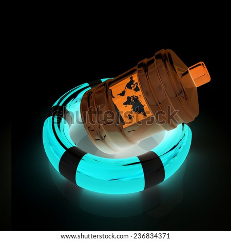 bottle on lifebuoy - stock photo