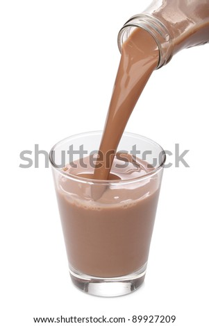 Bottle pouring milk chocolate into a glass - stock photo