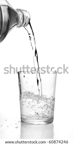 bottle pouring water into a glass