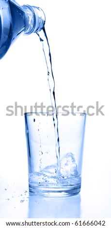 bottle pouring water on glass