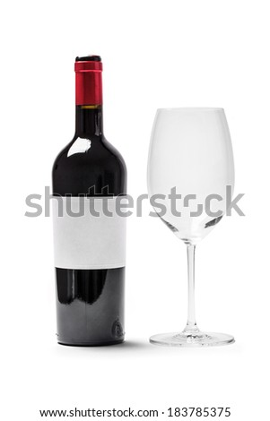 Bottle red wine with glass (with clipping path), isolated on white background. - stock photo