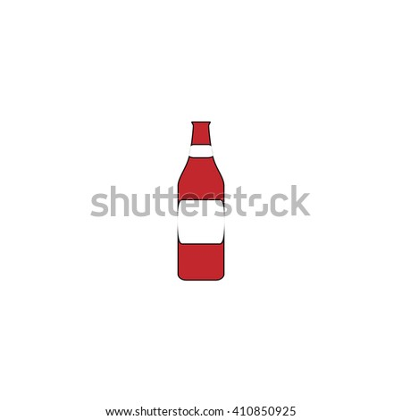 Bottle Simple red icon on white background. Flat pictogram - stock photo