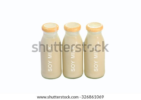 bottle soy milk with white background - stock photo