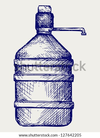 Bottle water. Doodle style. Raster version - stock photo