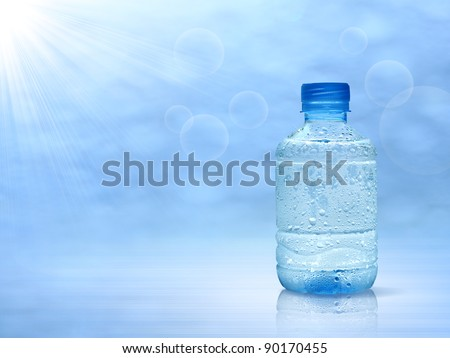 bottle water mineral, a drop of water. - stock photo