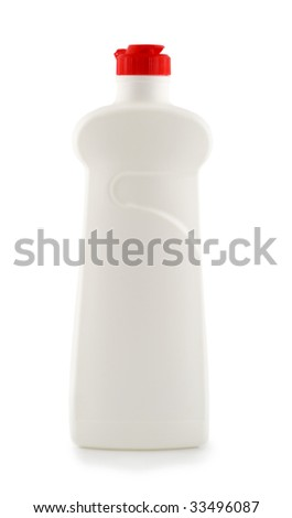 bottle white plastic isolated on white background - stock photo
