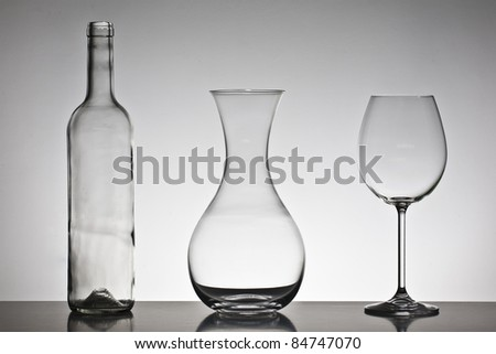 Bottle, wine decanter and glass - stock photo