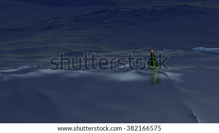 Bottle with a message in the sea at storm - stock photo