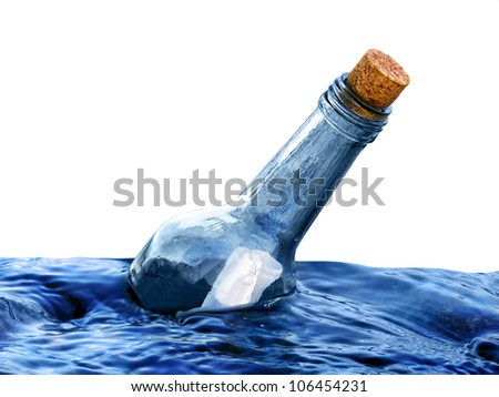 Bottle with a message in water isolated - stock photo