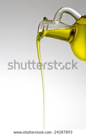 Bottle with a thread of olive oil