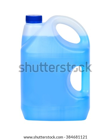 Bottle with blue window cleaning liquid - stock photo
