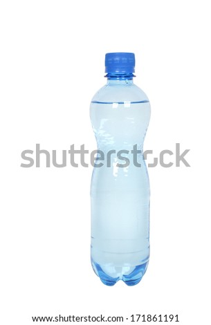 bottle with clear drinking water on white background - stock photo
